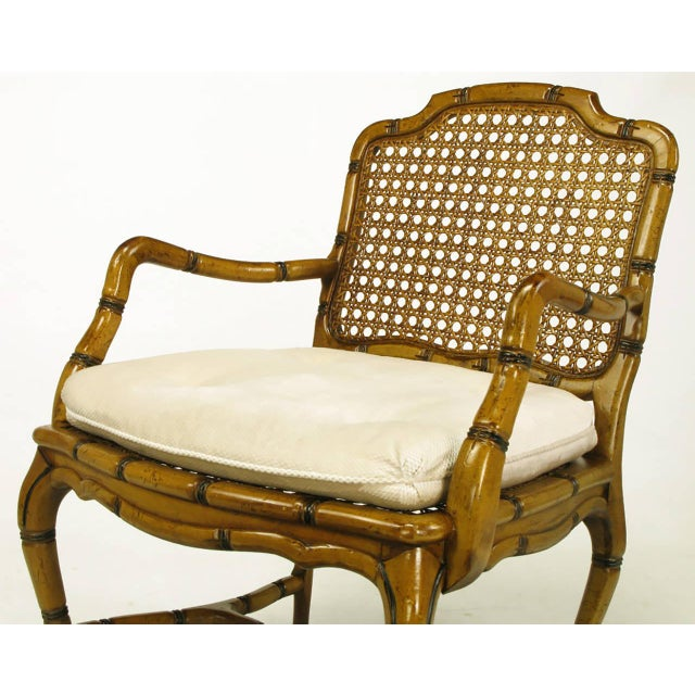 Bamboo-Form Cabriole Leg Cane Back Armchair For Sale - Image 4 of 9