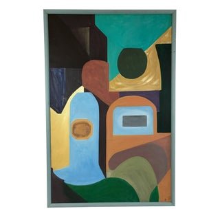 Late 20th Centruy Abstract Geometric Painting For Sale