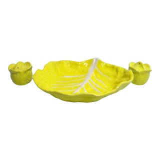 Cottage Yellow Cabbage Ceramic Veggie Bowl with Salt and Pepper Shakers - 3 Pieces