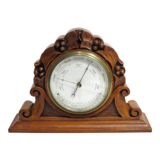 Antique Carved Oak Desk Barometer/Thermometer For Sale