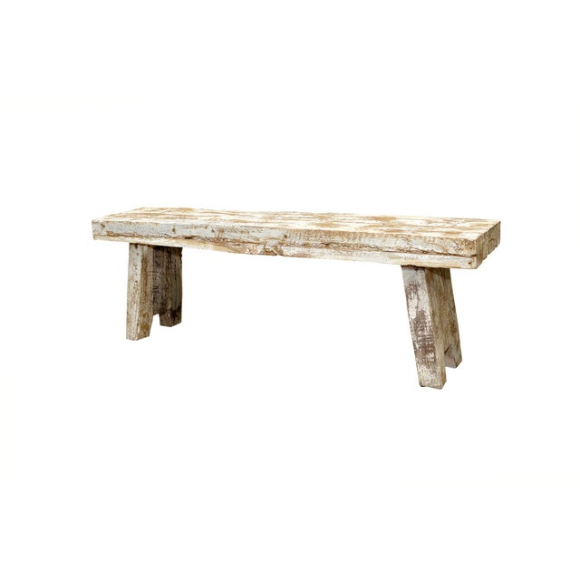 Rustic Whitewashed Bench - Image 2 of 2