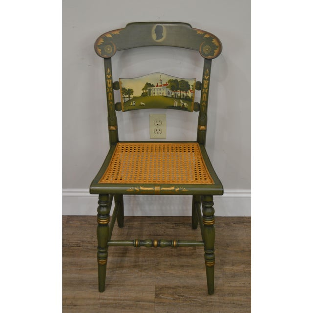 Traditional Hitchcock Green Painted George Washington Mt Vernon Cane Seat Side Chair For Sale - Image 3 of 13