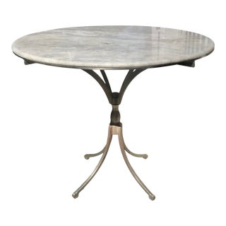 French Carrera Marble Top Dining Table With Steel Base For Sale