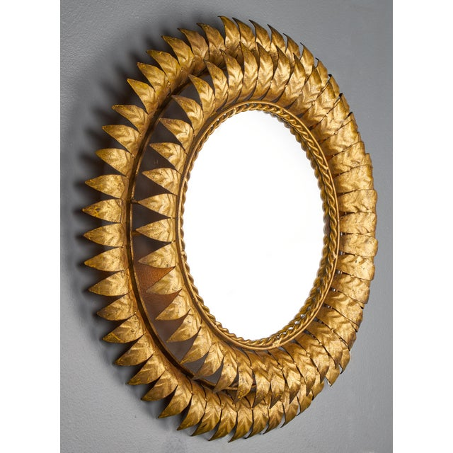 Mid-Century Modern French Mid-Century Modern Sunburst Mirror with Back Light For Sale - Image 3 of 11