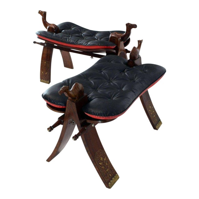Pair of Carved Rosewood Camel Benches Stools For Sale