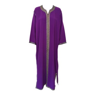 Moroccan Purple Kaftan Maxi Dress Caftan Size Large - Extra Large For Sale