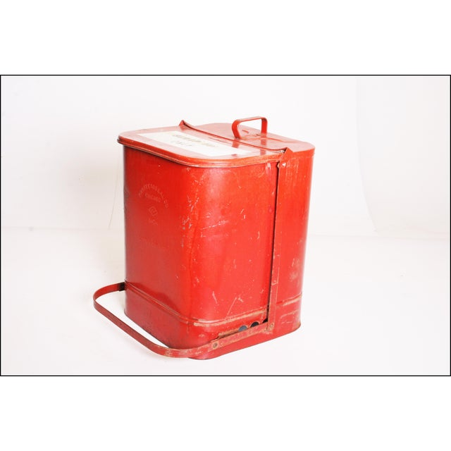 Vintage Industrial Red Metal Trash Can with Flip Top Lid - Image 4 of 11