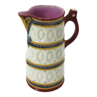Late 19th Century Victorian Majolica Whimsical Motto Jug For Sale