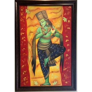 Indian Oil Painting on Canvas For Sale