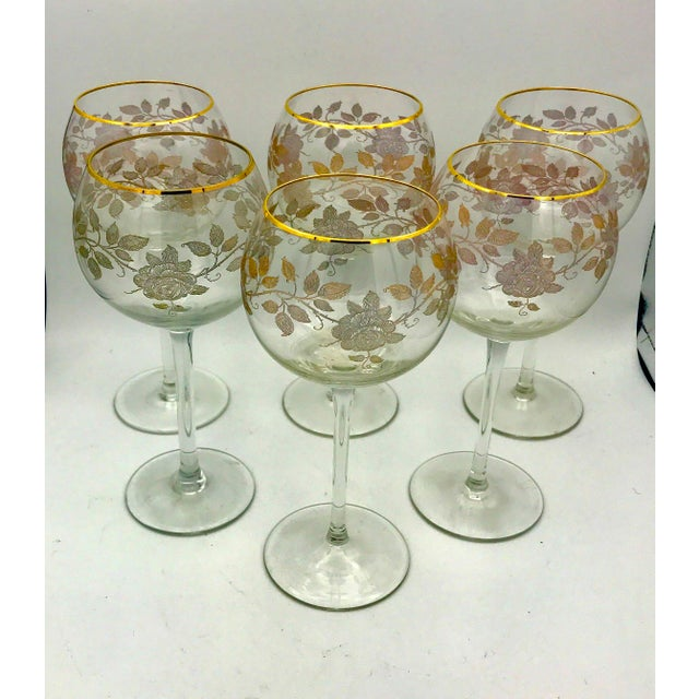 Art Nouveau Early 20th Century Antique French Baccarat Gold Encrusted Needle Etch Crystal Hock Glasses- Set of 6 For Sale - Image 3 of 13