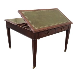 English Drafting Partners Table With Green Leather Top For Sale