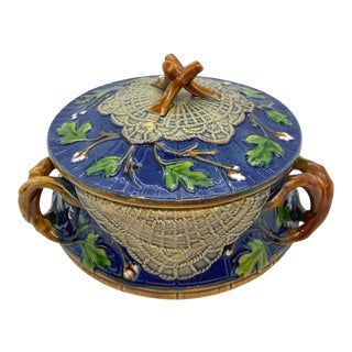 Minton Majolica Butler Tureen in Cobalt Blue, Hawthorn Branches, 1859 For Sale