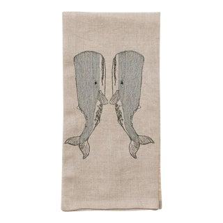 Contemporary Linen Whale Love Tea Towel For Sale