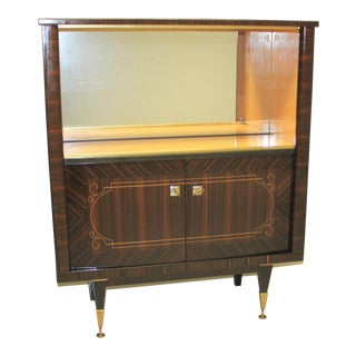 Monumental French Art Deco Macassar Ebony Dry Bar Cabinet 1940's For Sale