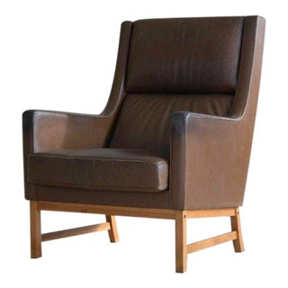Midcentury Kai Lyngfeldt Larsen Style High Back Lounge Chair in Brown Leather For Sale
