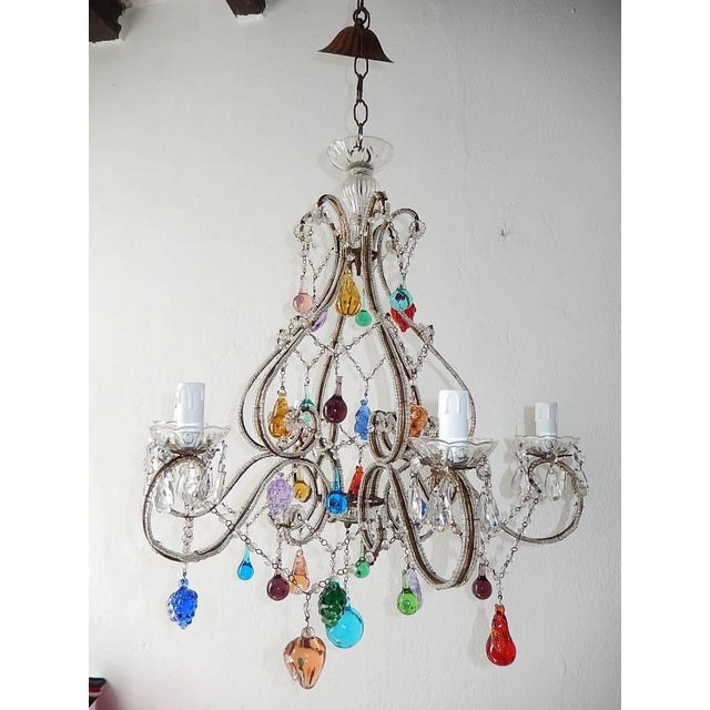 Italian Beaded Murano Colorful Fruit Chandelier, 1920 For Sale - Image 12 of 12