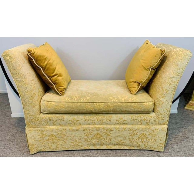 French Art Deco Style Yellow Gold Bench or Window Seat After Dominique, a Pair For Sale - Image 11 of 13