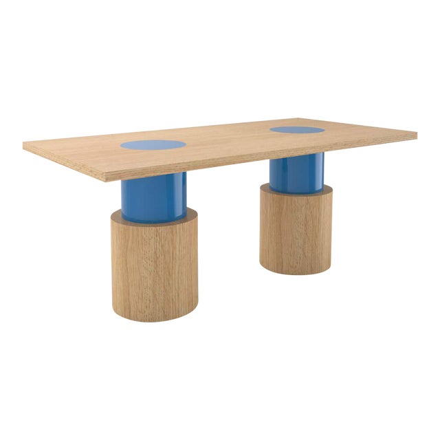 Contemporary 102C Dining Table in Oak and Blue by Orphan Work, 2020 For Sale