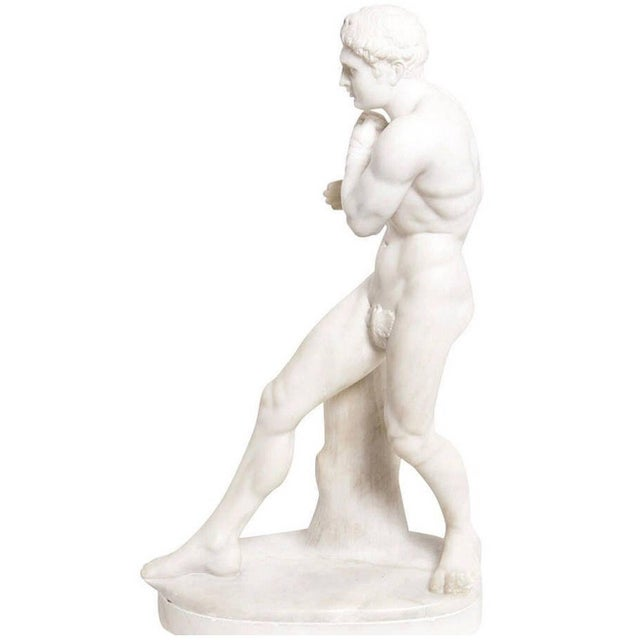 19th Century Antique Grand Tour Canova's Damoxenos the Boxer Marble Reduction Sculpture For Sale - Image 9 of 9