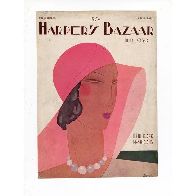 "1930s ""Harper's Bazaar, May 1930."" Original Vintage Fashion Magazine Cover For Sale - Image 5 of 5"