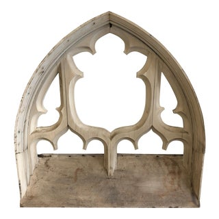 Late 19th Century European Antique Carved Cathedral Window For Sale