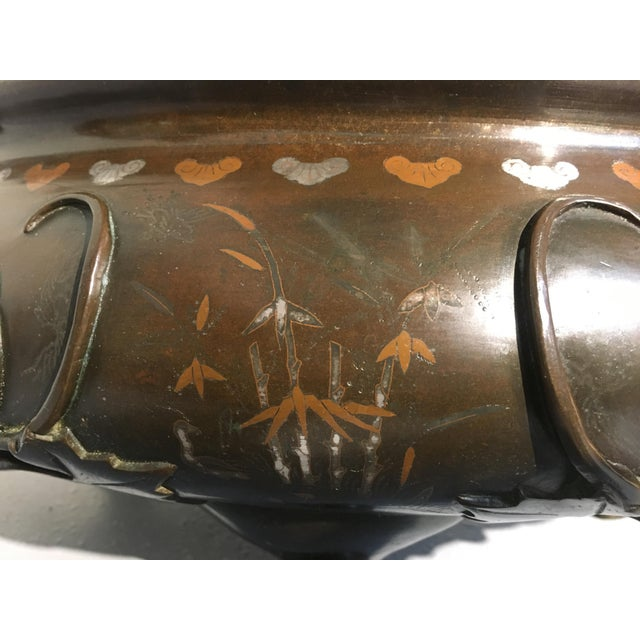 Bronze Chinese Silver and Copper Inlaid Bronze Planter, Qing Dynasty, 19th century For Sale - Image 7 of 11