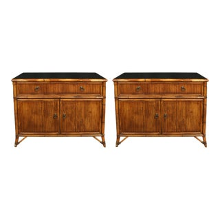 Mid 20th Century Baker Rattan Chests - a Pair For Sale