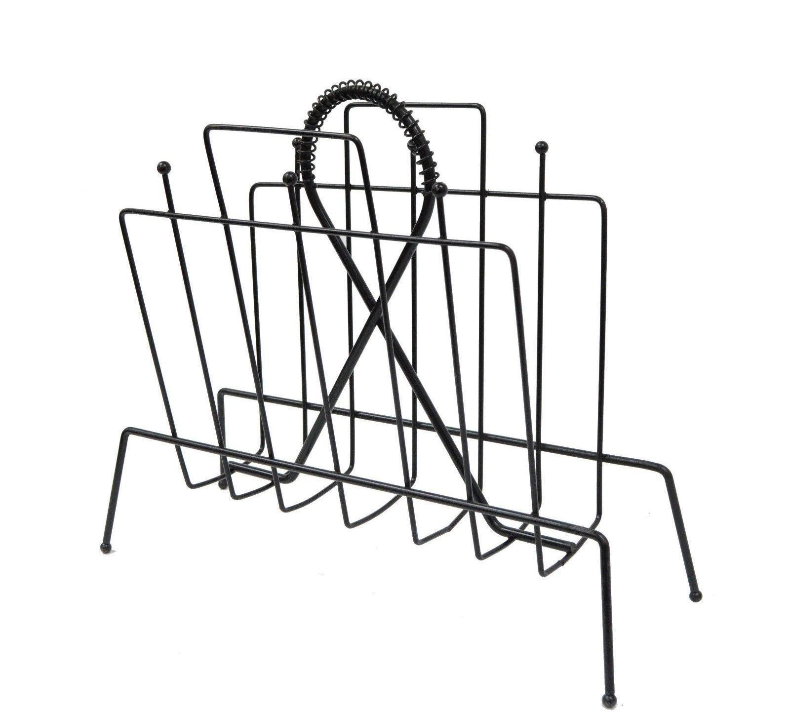 vintage mid century modern atomic wire metal black magazine rack Atomic Hookah vintage mid century modern atomic wire metal black magazine rack holder hairpin for sale image