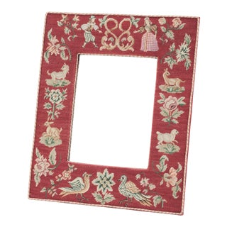 19th Century French Needlepoint Marriage Mirror For Sale