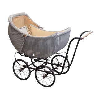 Antique Wicker Baby Carriage For Sale