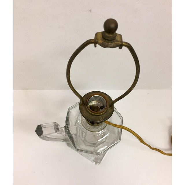 Metal Greek Key Pressed Glass Electrified Oil Lamp For Sale - Image 7 of 9