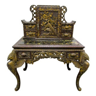 Antique Chinese Chinoiserie Black Desk