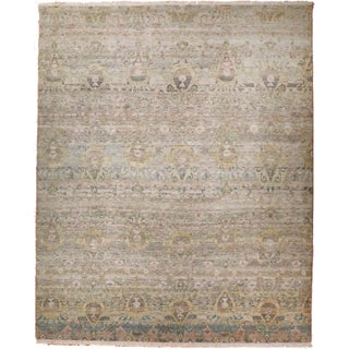 Contemporary Hand-Knotted Luxury Rug in Ikat Design. - 9′ × 12′3″ For Sale