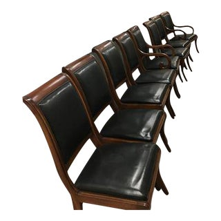 Henredon Traditional Black Leather Dining Chairs - Set of 8