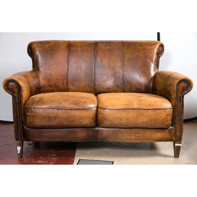 Vintage French Distressed Art Deco Leather Sofa - Image 2 of 9