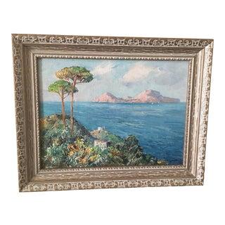 1950s Matteo Sarno 'Sarno Capri' Oil Painting on Canvas For Sale