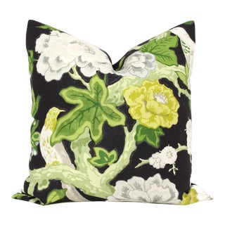 "20"" X 20"" Bermuda Blossoms by Mary McDonald for Schumacher Ebony Decorative Pillow Cover For Sale"
