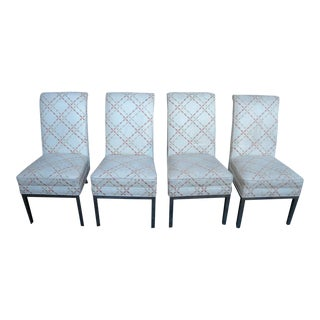 Mid Century Modern Set of Four High Back Dining Room Chairs For Sale