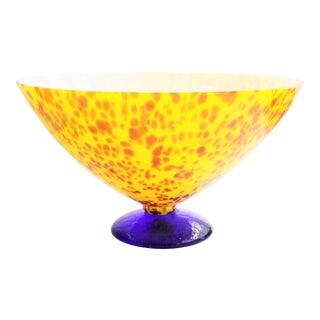 20th Century Sasaki Vetro Murano Yellow Speckle Pedestal Console Bowl For Sale