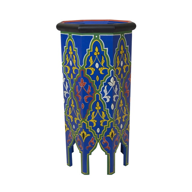 Blue Dari Hand-Painted Side Table - Image 1 of 5