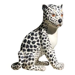 Vintage Italian Porcelain Leopord Figurine For Sale