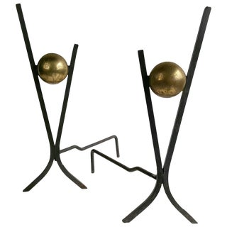 Modernist Brass and Iron Andirons by Donald Deskey - A Pair For Sale