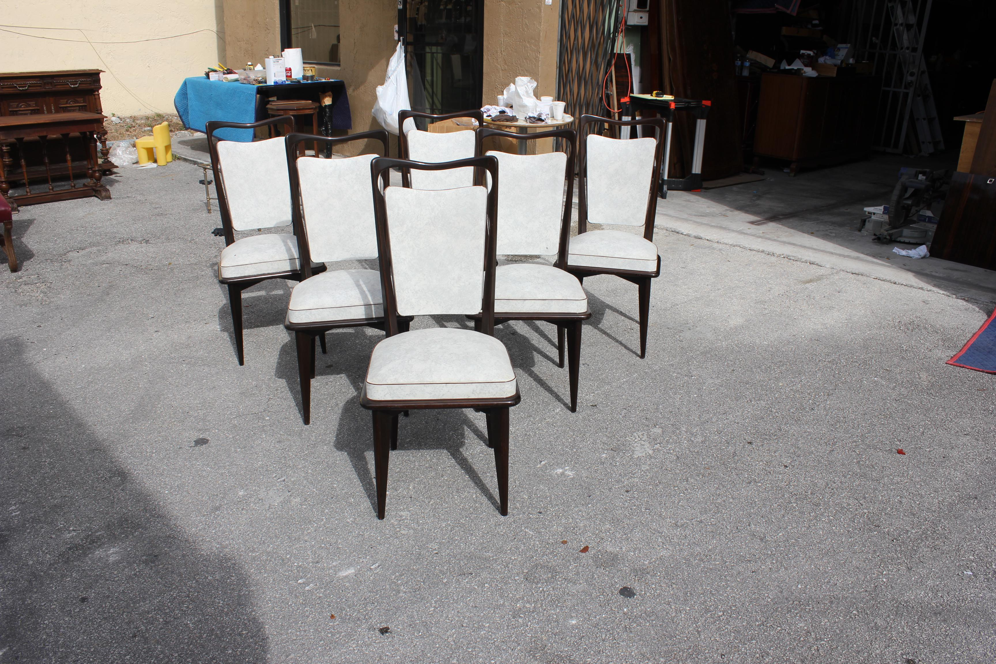 French Art Deco Solid Macassar Ebony Dining Chairs   Set Of 6   Image 5 Of