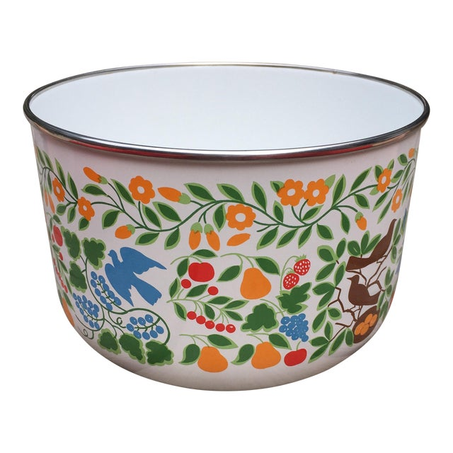 Colorfully Decorated Enamelware Bowl - Image 1 of 7