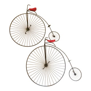 1982 Vintage Curtis Jere Penny Farthing Bike Bicycle Wall Sculptures - a Pair For Sale