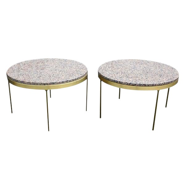 Pair of Nicos Zographos Bronze and Granite Side Tables For Sale