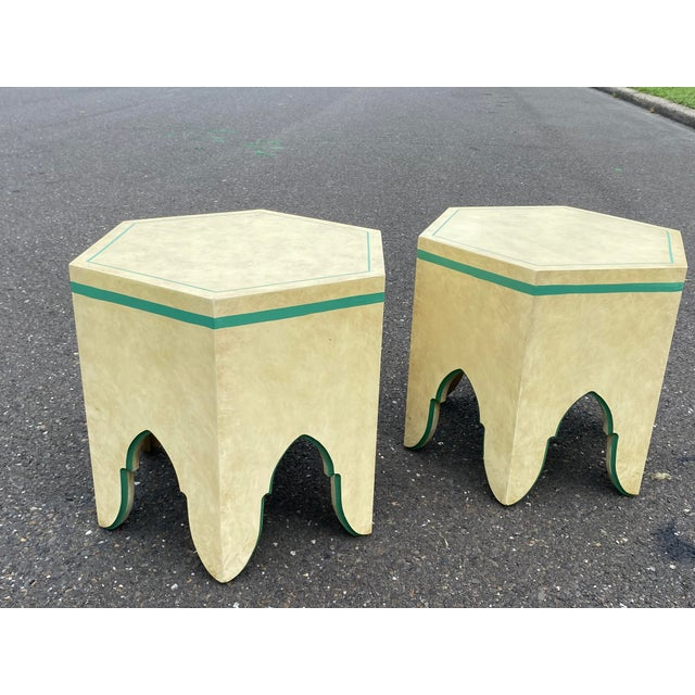 1960s 1960s Vintage Moroccan Hexagon Lacquered Side Tables - a Pair For Sale - Image 5 of 11