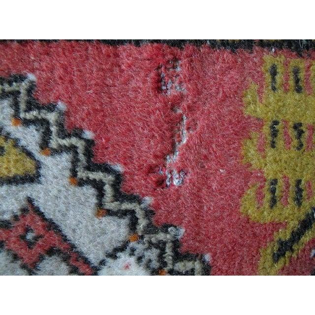 "Vintage Dark Pink Distressed Turkish Rug - 1'8"" x 3'2"" - Image 9 of 9"