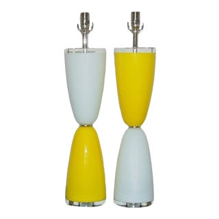 Vintage Murano Glass Lamps Yellow White For Sale
