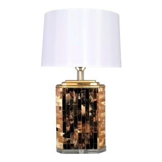 Vintage Tessellated Horn and Lucite Brass Table Lamp-Restored-Mid Century Modern MCM Palm Beach Tree Boho Chic Tropical Coastal Art Deco For Sale
